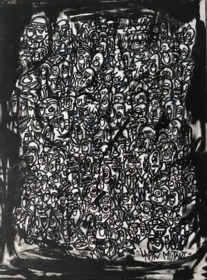 Lapin-mutant-toile-street-art-urban-art-noir&blanc