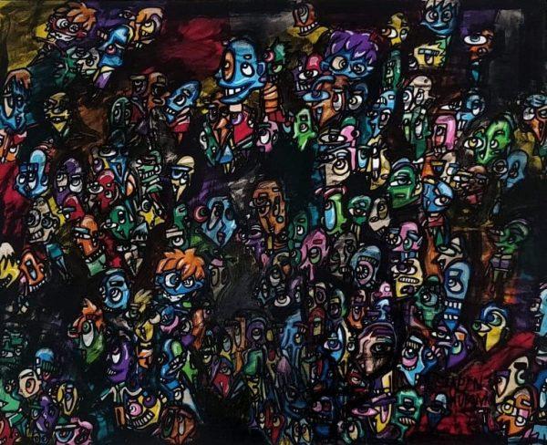 Lapin-mutant-toile-street-art-urban-art-noir-couleur