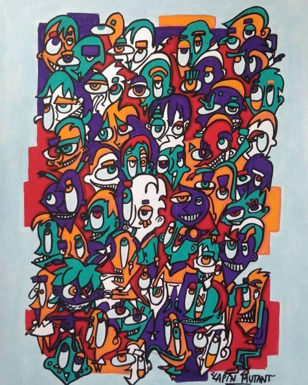 Lapin-mutant-toile-street-art-urban-art-papier-2019