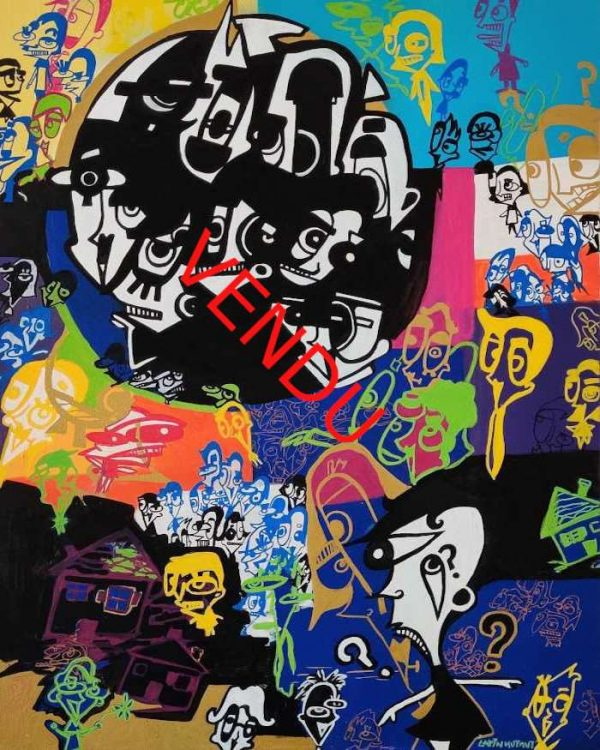 Lapin-mutant-toile-street-art-urban-art-prise-de-tête-Vendu-ARTree-Ybackgalerie