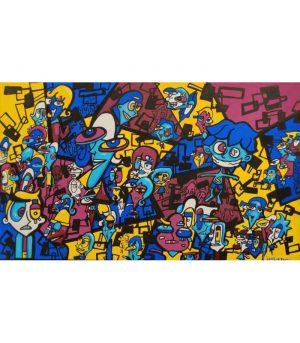 Lapin-mutant-toile-street-art-urban-art-Dechets-Nés-2020-ARTree-Ybackgalerie
