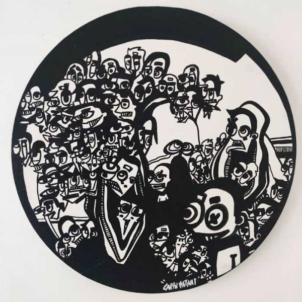 Lapin-mutant-toile-street-art-urban-art-Naissances-2020-ARTree-Ybackgalerie