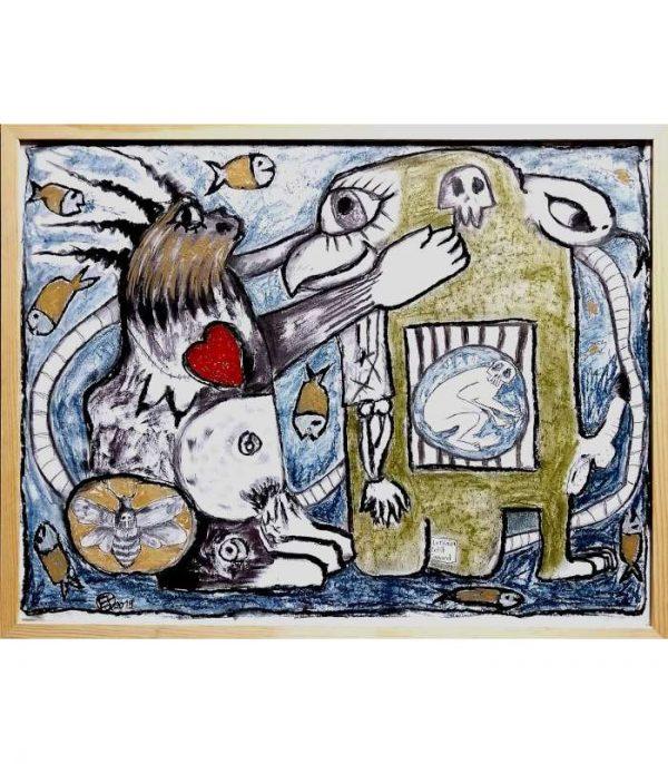 Emmanuel-Torlois-THE-KISS-2020-Art-Outsider-artree-ybackgalerie