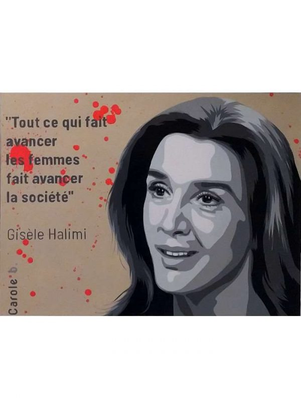 Gisèle Halimi, la Justicière, peinture acrylique a