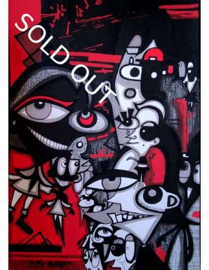 Lapin-mutant-dessin-street-art-urban-art-Rouge-2020-Sold-Out-ARTree-Ybackgalerie