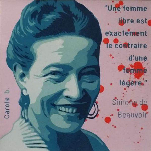 Simone-de-Beauvoir-la-féministe-Carole-b-Ybackgalerie-ARTree