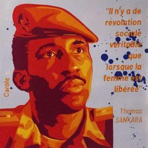 Thomas Sankara, le féministe, pochoir, peinture ac